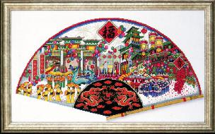 Lucky Fan 13 x 22 Counted Cross Stitch Picture Kit