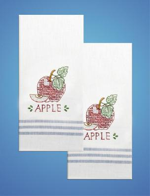 Apple Stripe Kitchen Towels - one pair