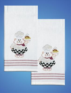 Chef Red Stripe Kitchen Towels - one pair from Tobin