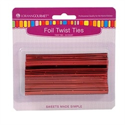 Twist Ties - Metallic Red - 50 pc/pk LorAnn