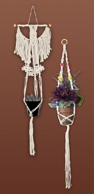 Plant Hangers, Set of 2 Macrame' Kit - Fits 4 to 8 inch Pots
