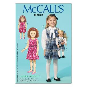 Girls' - 18 Dolls' Dresses CDD 2-3-4-5 McCall's M7272