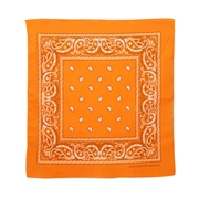 Orange paisley print bandana. 22 x 22 inches