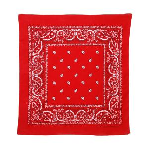 Red paisley print bandana. 22 x 22 inches