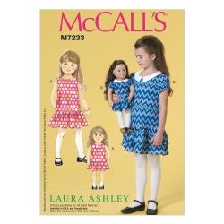 Children's/Girls'/18 Dolls' Dresses 6-7-8 McCall's M7233