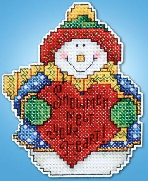 Counted Cross Stitch Ornament Kit Includes -Snowman Melt Your Heart
