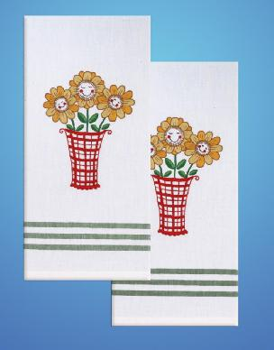 Daisy w Green Stripe Towel Set