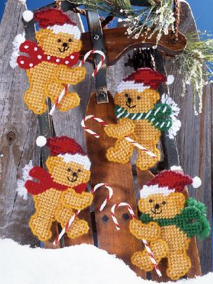 Candy Cane Bears Ornaments Kit - Plastic Canvas