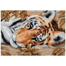 Beguiling Tiger 5 x 7 inch Gold Collection Counted Cross Stitch Kit