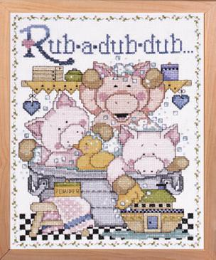 Rub-A-Dub counted cross stitch 8 x 10 inch picture kit