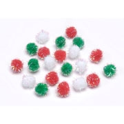 Pom Poms - Christmas Multi-Color - 10mm - 16 pieces