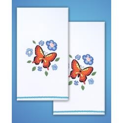 Butterfly - Towels - one pair Stamped for Embroidery