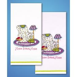 Home Sweet Home - Towels - one pair Stamped for Embroidery