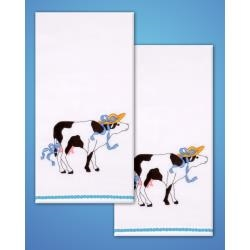 Cow Towels - one pair Stamped for Embroidery
