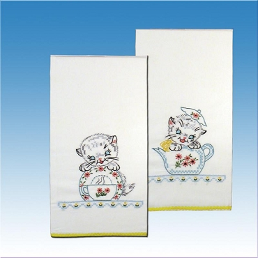Retro Kittens Kitchen Towels - one pair