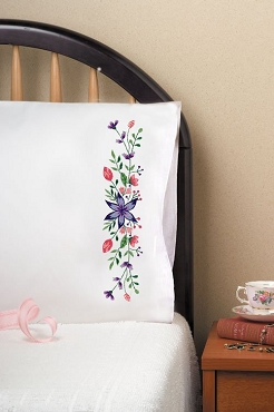 Star Flower - Pair of Standard Pillowcases by Tobin
