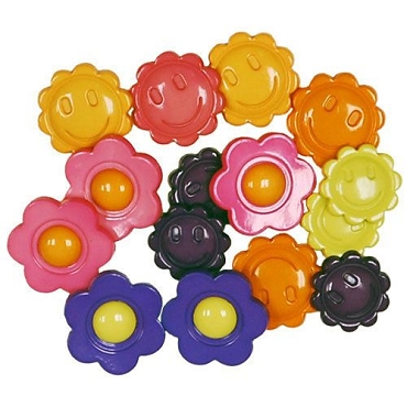 Flower Power - 14 decorative buttons per package