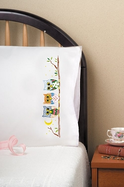 Colorful Owls - Pair of Standard Pillowcases by Tobin
