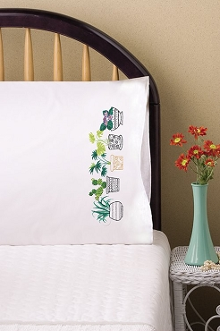 House Plants - Pair of Standard Pillowcases by Tobin
